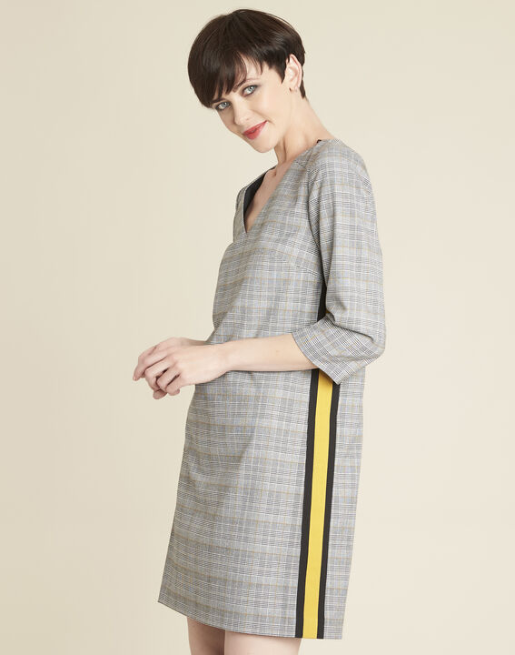 Dame grey printed dress with Prince of Wales design PhotoZ | 1-2-3