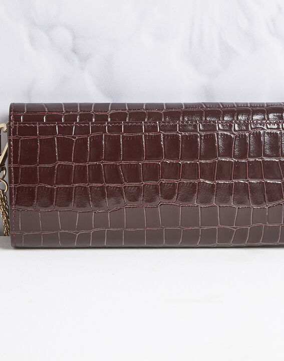 Isabelle crocodile effect red leather clutch bag (4) - 1-2-3