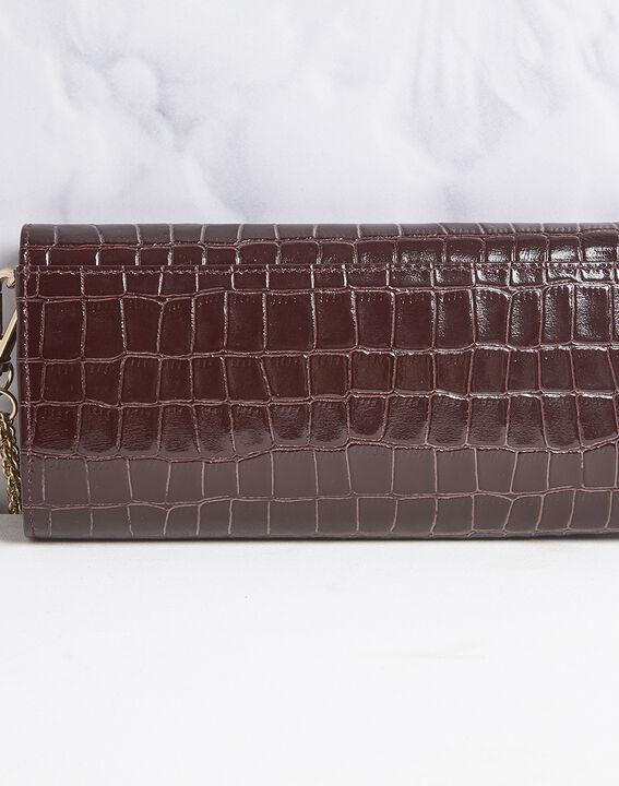 Pochette rouge en cuir façon crocodile Isabelle (4) - 1-2-3