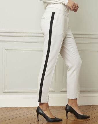 Suzanne pale grey trousers with a black microfibre band light grey.