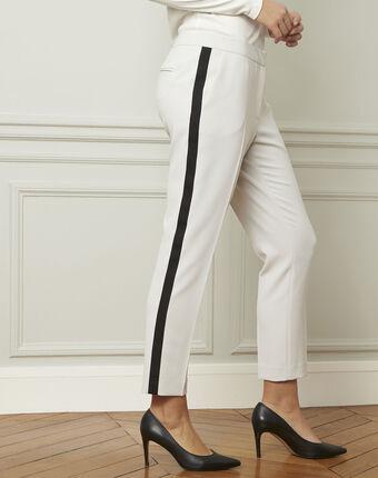 Pantalon gris pâle bande noire microfibre suzanne gris pale.