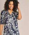 Marineblaues Kleid mit Blätter-Print Power PhotoZ   1-2-3