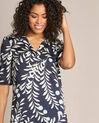 Marineblaues Kleid mit Blätter-Print Power (1) - 1-2-3
