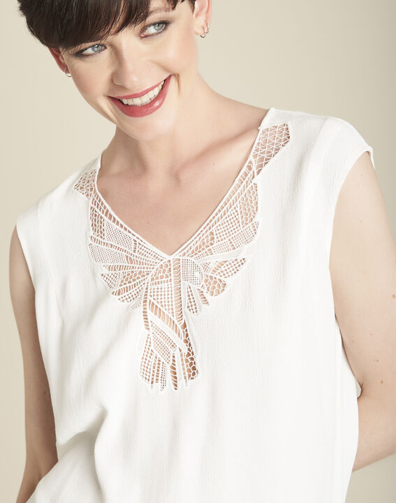 Colline ecru blouse with romantic neckline (3) - 1-2-3