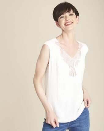 Blouse écrue encolure fantaisie colline ecru.