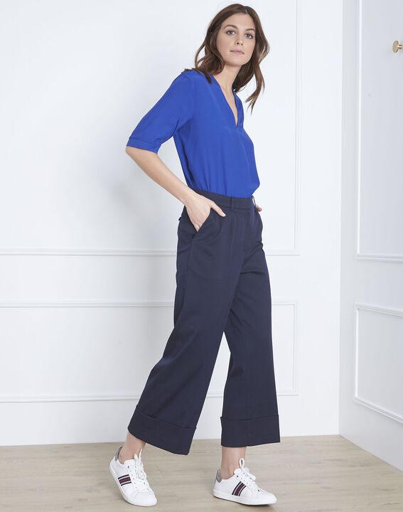 41eb13f18002b4 Gabin loose fit blue trousers with creases - Maison Cent Vingt-Trois