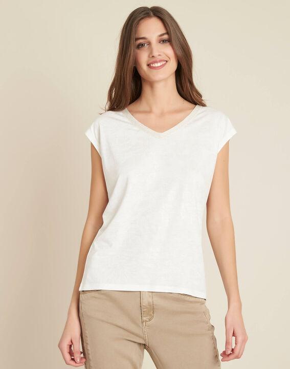 Enight V-neck sparkly ecru T-shirt (3) - 1-2-3