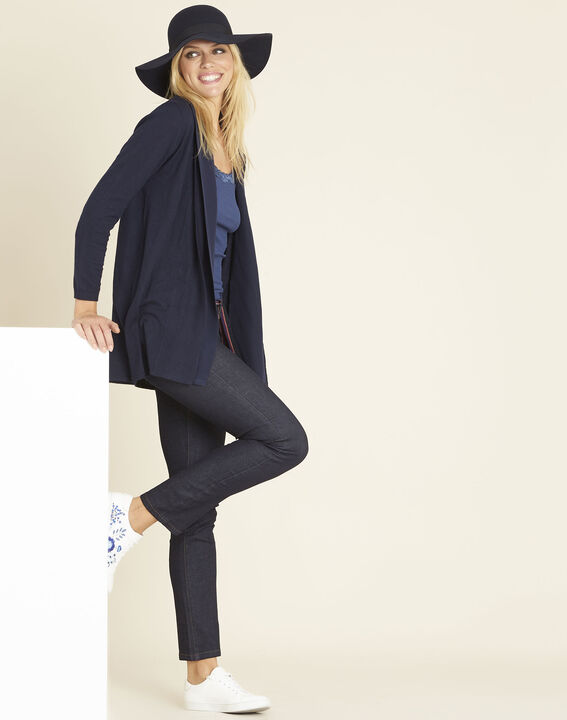 Brouillard navy blue cardigan in cotton and cashmere with cowl neckline (2) - 1-2-3