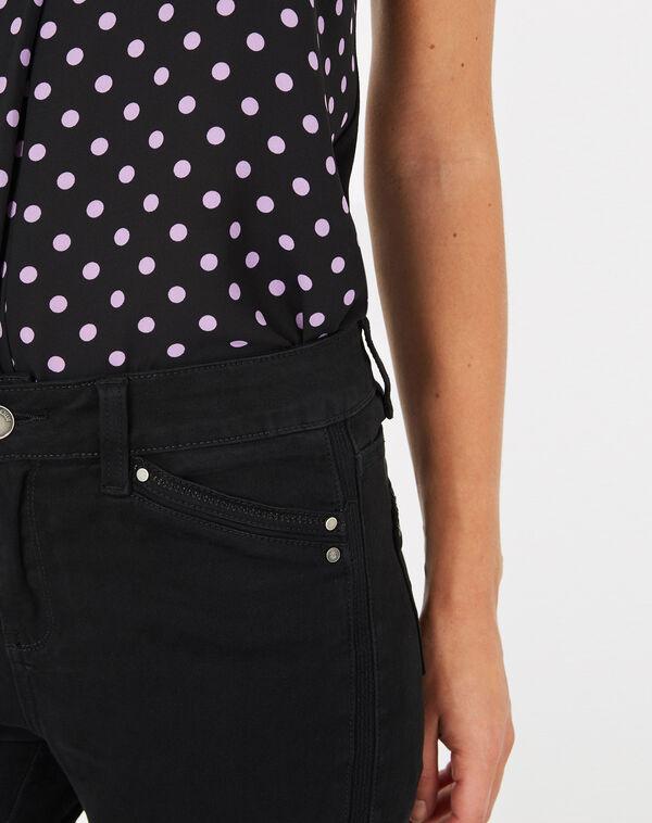 Pantalon 7/8ème noir satin pia à