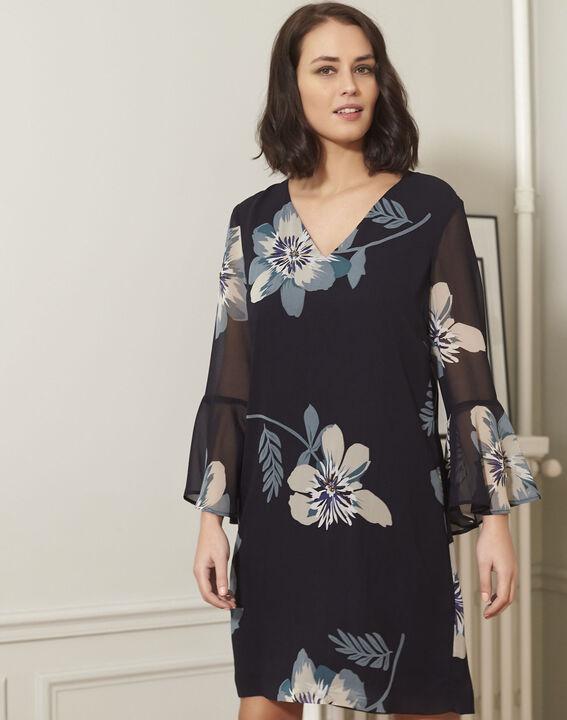 Marineblauwe jurk met bloemenprint Astrid PhotoZ | 1-2-3