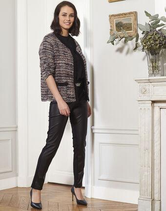 Borsalino multi-coloured fringed knit jacket navy.
