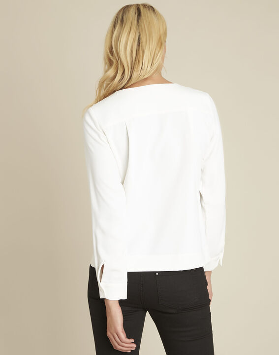 Capucine ecru blouse with jewel detail neckline (4) - 1-2-3