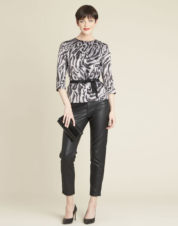 Camomille anthracite zebra print blouse (2) - 1-2-3