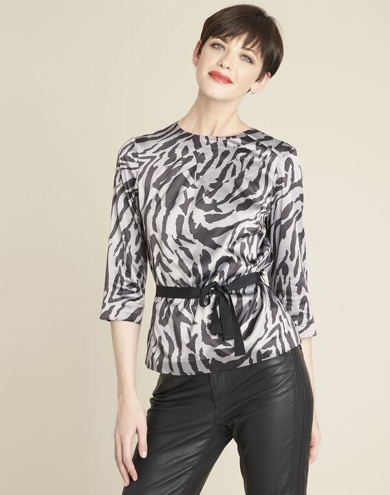 Anthrazitfarbene Bluse mit Zebra-Druckmuster Camomille (1) - 1-2-3