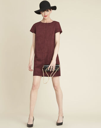 Darcy red suede-effect dress with scalloped detailing dark red.