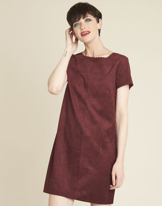 Darcy red suede-effect dress with scalloped detailing PhotoZ | 1-2-3