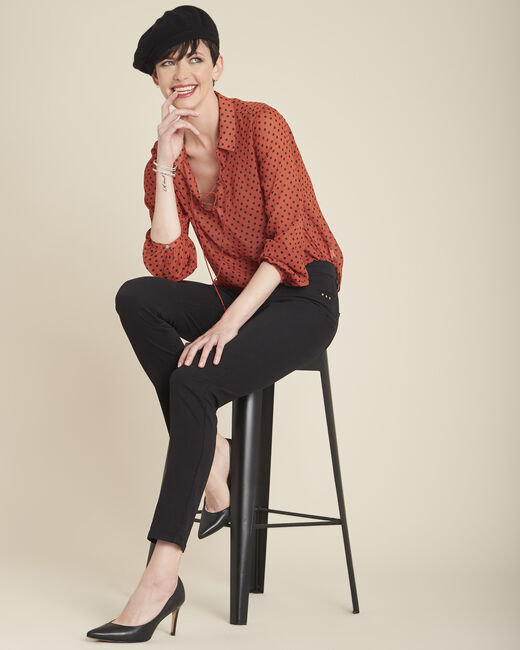 Caroline orange polka dot blouse with laced neckline (1) - 1-2-3