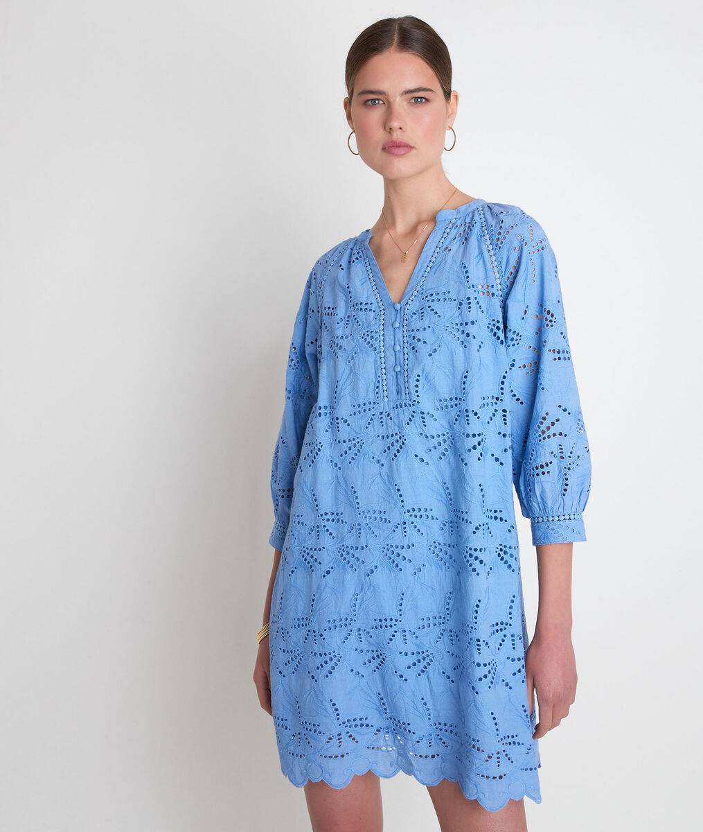 Robe en coton brodé bleu Coco PhotoZ | 1-2-3