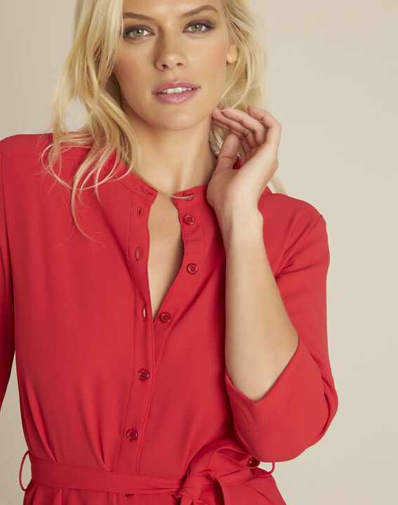Donovan red buttoned belted crepe dress (2) - 1-2-3