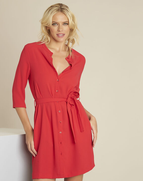 Donovan red buttoned belted crepe dress PhotoZ | 1-2-3