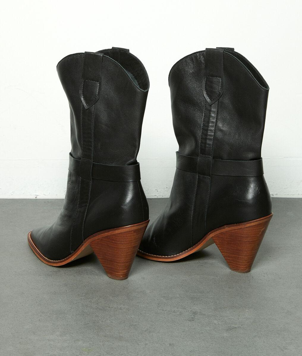 Zwarte soepele lederen laarzen met hak Halma PhotoZ | 1-2-3