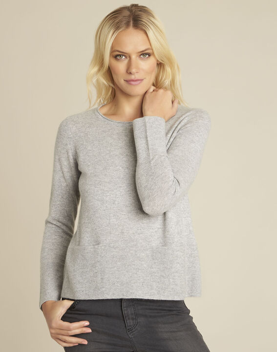 Pull gris cachemire poches Brume PhotoZ | 1-2-3
