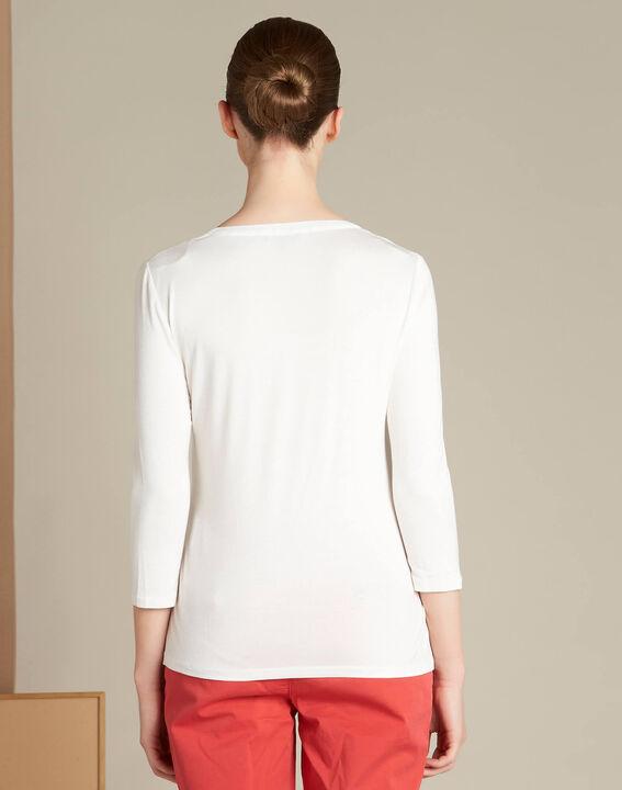 Ecru T-shirt uit twee materialen met hals van nettricot Bianca (4) - 37653