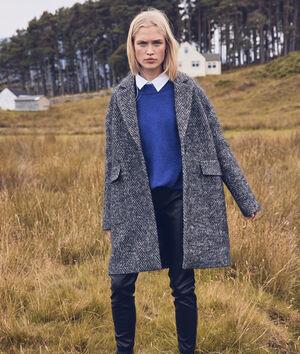 Manteau en laine à chevron gris chiné Lubna
