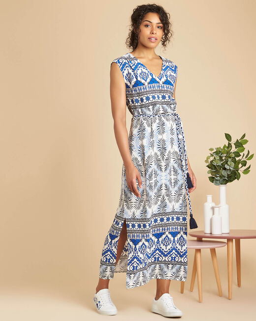 Papyrus long navy dress with ethnic print (1) - 1-2-3