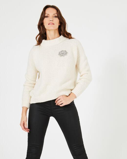 Ecrufarbener Pullover aus grobmaschigem Strick Nappa (1) - 1-2-3