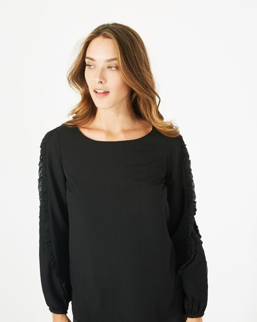 Dakota black blouse with rounded neckline (2) - 1-2-3