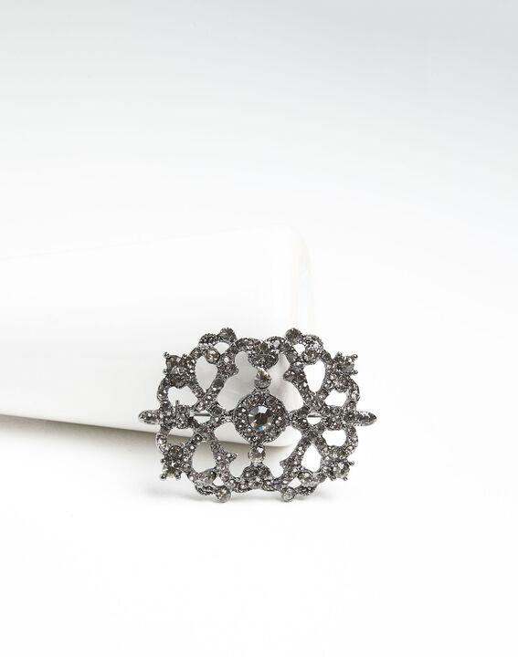 Broche met zilverkleurige blad en steentjes Xena (1) - Maison 123