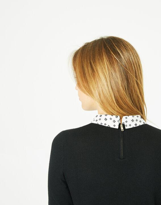 Pretty black sweater with stylish neckline (4) - 1-2-3