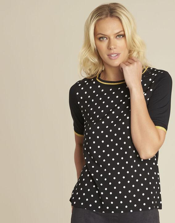 Zwarte blouse met stippenprint van twee soorten materiaal Clover (1) - 37653