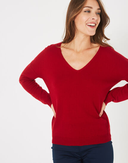 Piment red cashmere sweater with V-neck (2) - 1-2-3