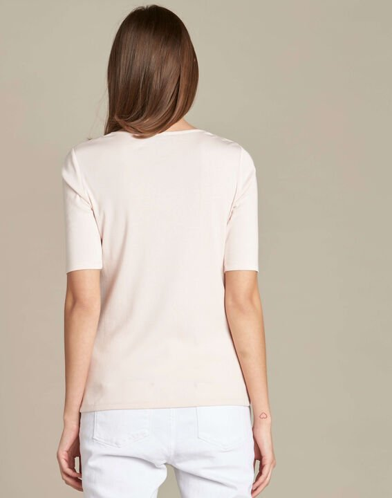 Ecume pale pink T-shirt with eyelets on the shoulders (4) - 1-2-3