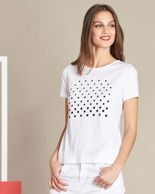 Elance white polka dot printed T-shirt in cotton (2) - 1-2-3