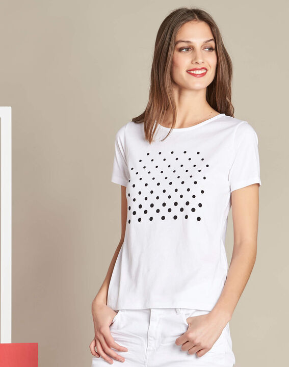 Elance white polka dot printed T-shirt in cotton (3) - 1-2-3