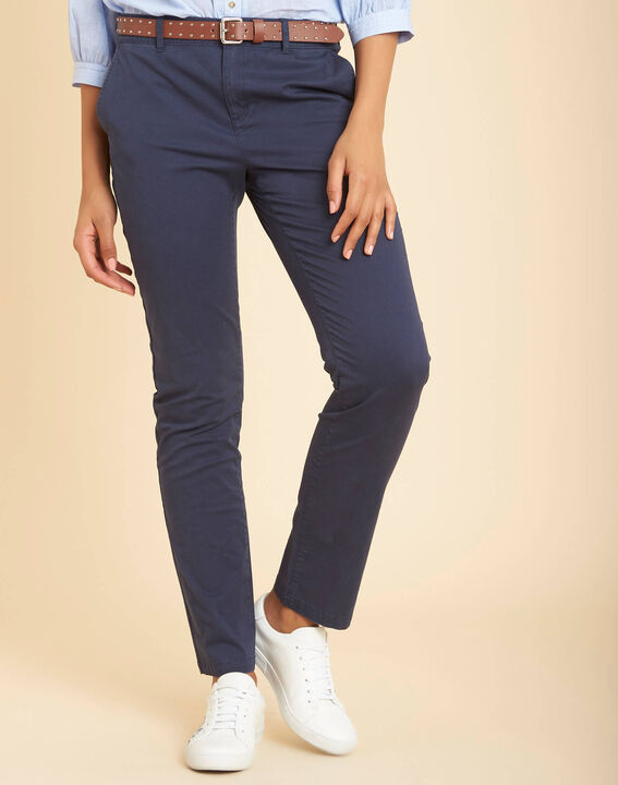 Francis slim-cut cotton 7/8 length trousers in navy blue (3) - 1-2-3