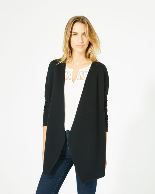 Gilet noir long façon veste en laine mélangée (2) - 1-2-3
