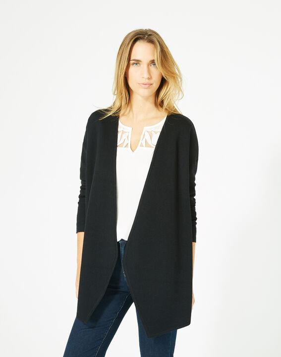 Gilet noir long façon veste en laine mélangée Papyrus (2) - 1-2-3