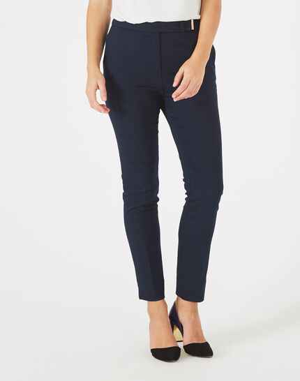 Pauline tailored navy blue trousers with buckle (3) - 1-2-3
