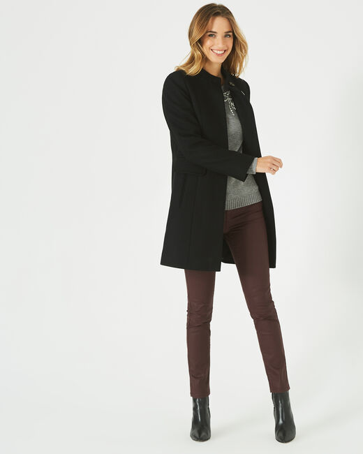 Janis black wool-blend coat (2) - 1-2-3