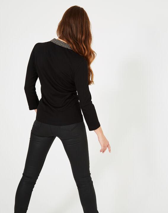 Schwarzes T-Shirt mit kontrastierendem Hemdkragen Bowling (5) - 1-2-3