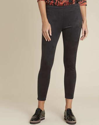Hens black suedette effect leggings black.