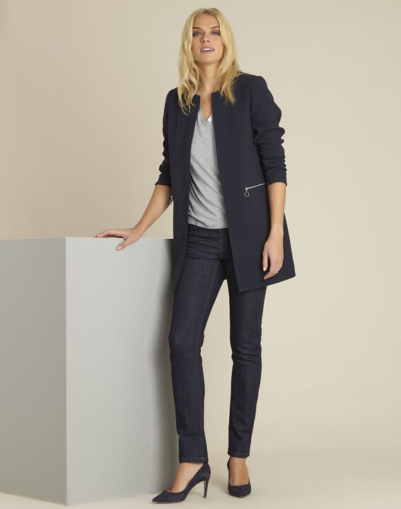 Kaya navy straight zipped coat (2) - Maison 123