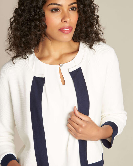 Narcisse white ottoman cardigan with contrasting trim (2) - 1-2-3