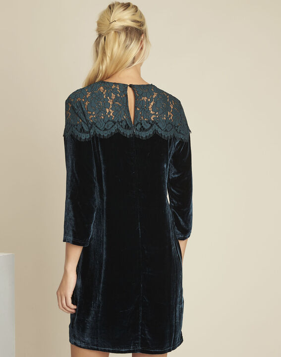 Naty dark green velvet and lace dress (4) - 1-2-3
