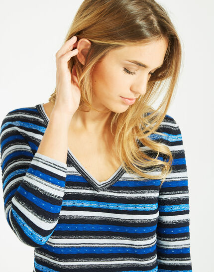 Portland striped blue sweater with rounded neckline (3) - 1-2-3