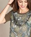 Natura dual-fabric khaki sweater with leaf print PhotoZ | 1-2-3